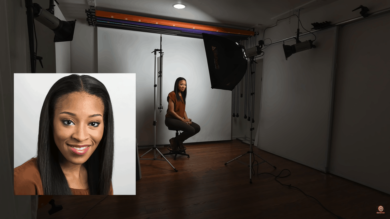 One light portrait lighting setup with reflector