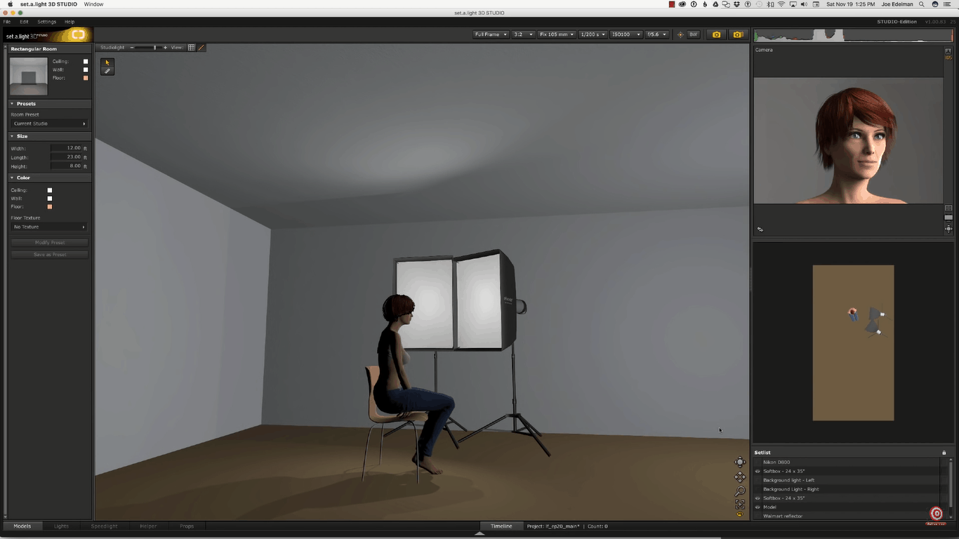 Digital rendering of two softboxes on camera right lighting arangement