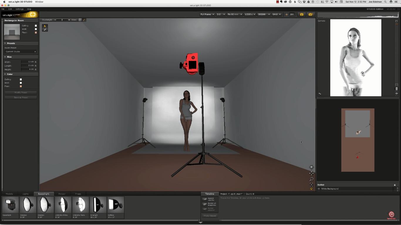 Glamour Lighting bounce flash setup