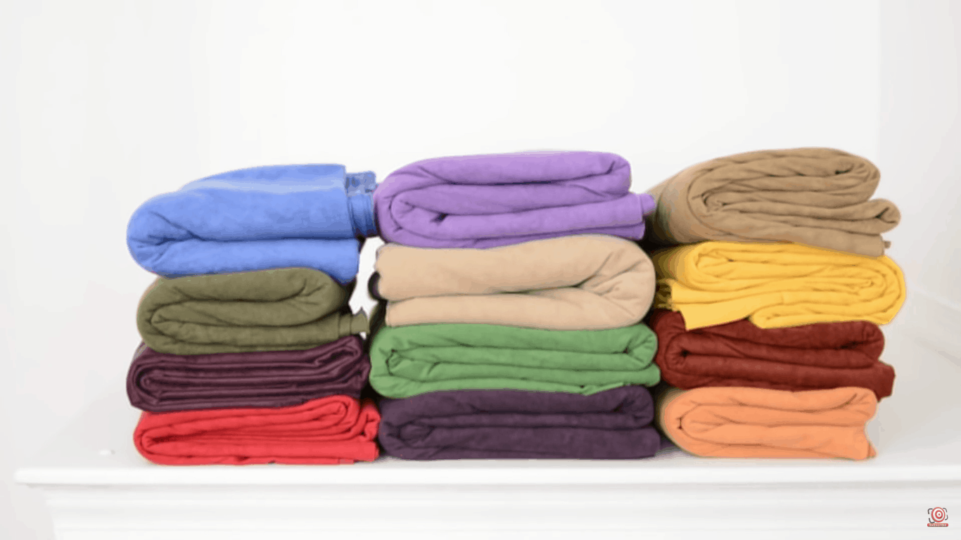 Velour all folded up in piles and stacks