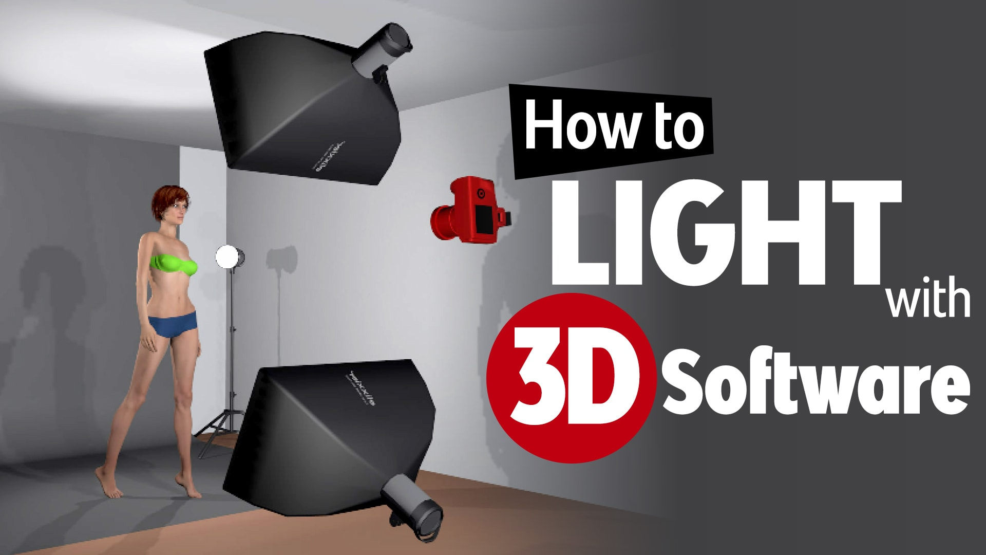 Photo of Learn portrait lighting with 3D software.  Studio Lighting Tutorial with set.a.light 3D