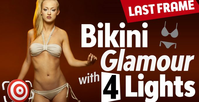 Bikini Glamour shot with four lights and orange gels title image