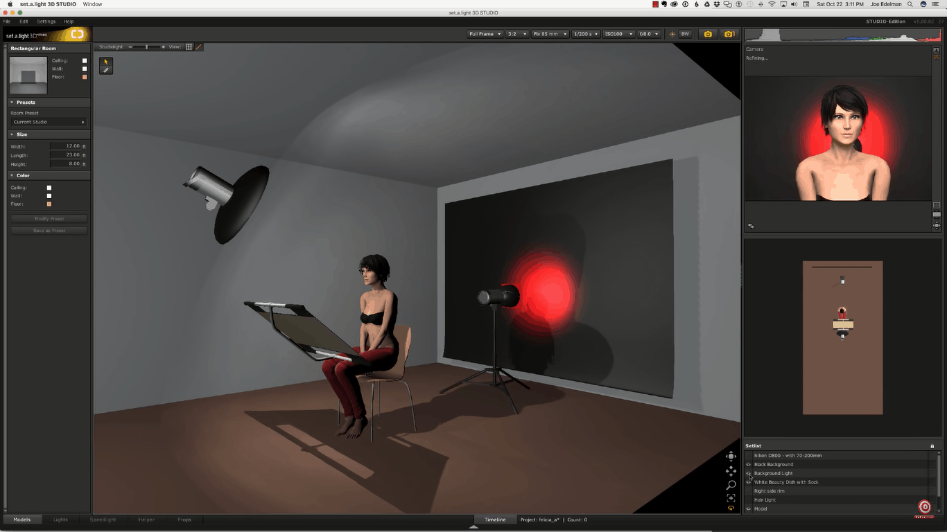 Digital rendering of setup with just beauty dish, reflector and red strobe behind model aimed at background