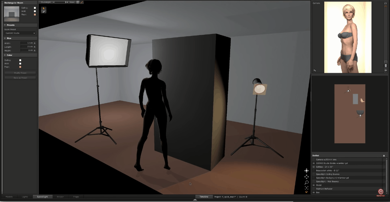 Digital rendering of glamour lighting setup softbox aimed at model
