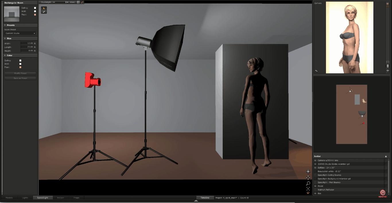Digital rendering of camera at model's shoulder height