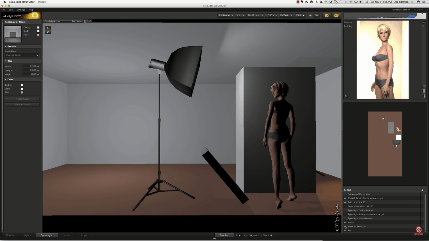 digital rendering of glamour lighting setup now with walmart reflector at model's feet aimedup