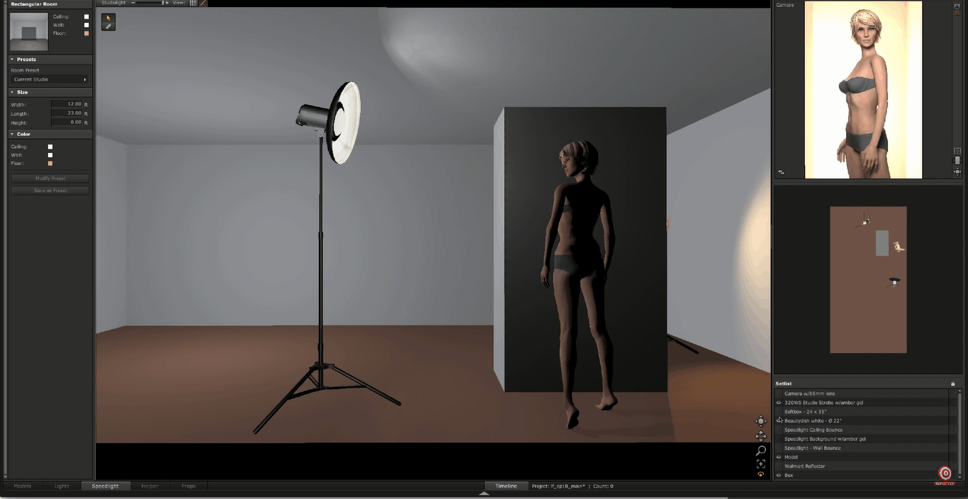 Digital rendering of glamour lighting setup with beauty dish instead of softbox