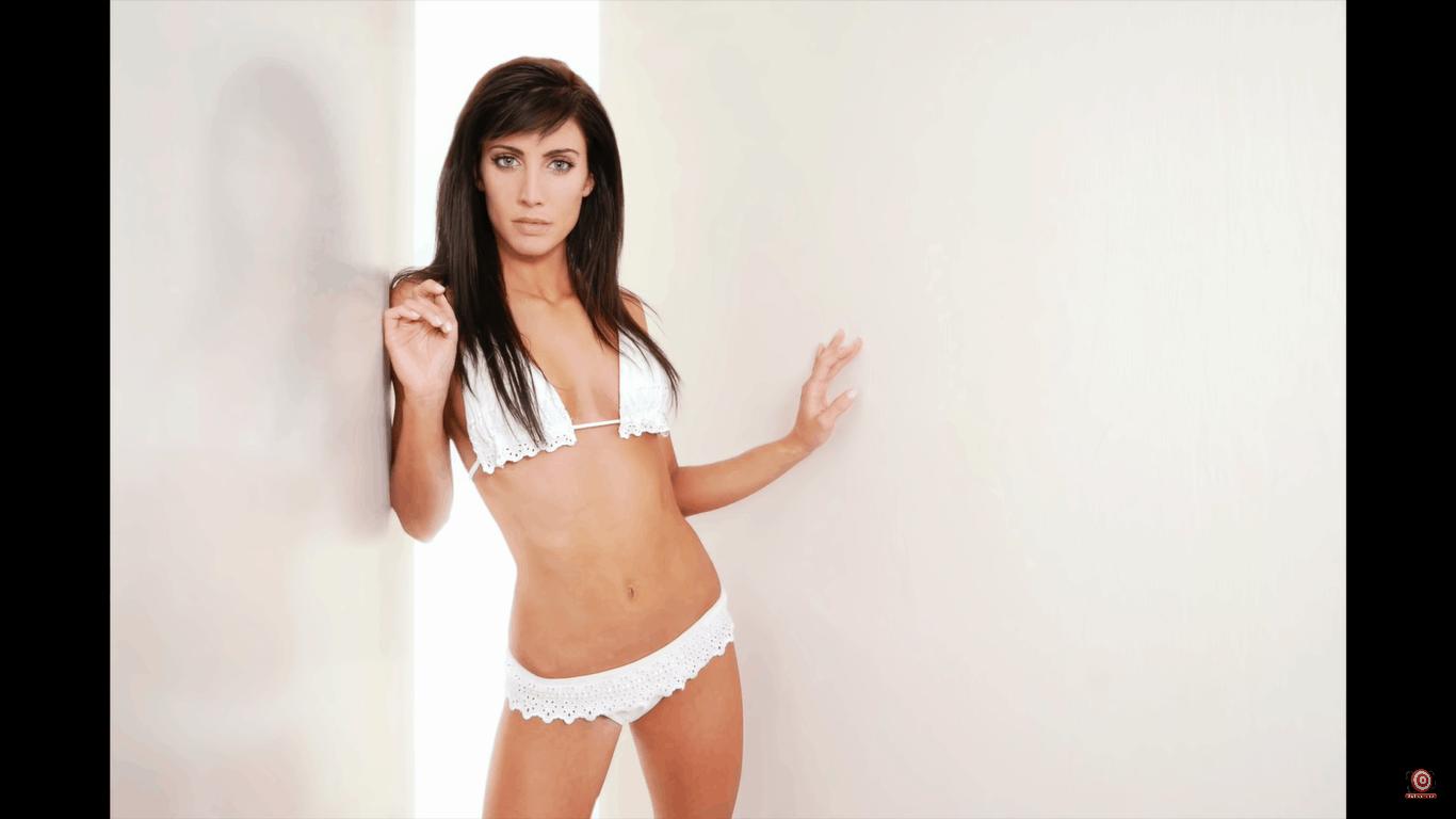 model in white bikini in same glamour lighting setup