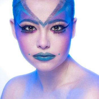 Claire with blue makeup first of fashion portraits square