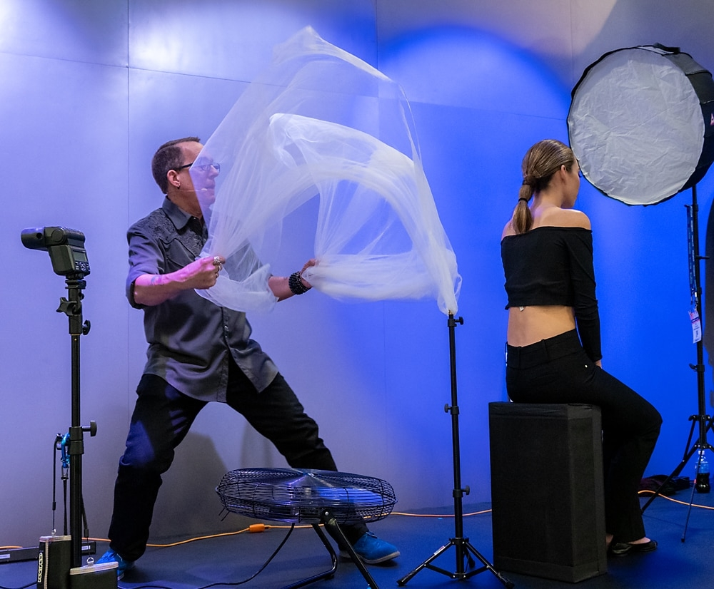 Shooting a fashion portrait with the Olympus OM-D E-M1X at WPPI 2019